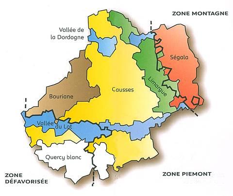 Les régions naturelles du Lot